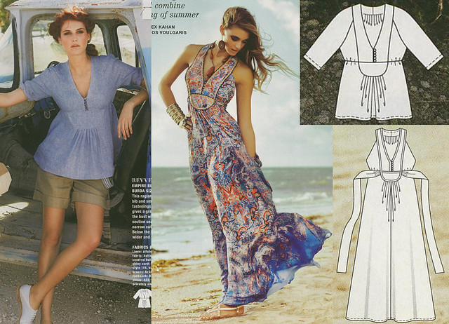 Burda-April-2014 Topstitched Bib Blouse and Dress