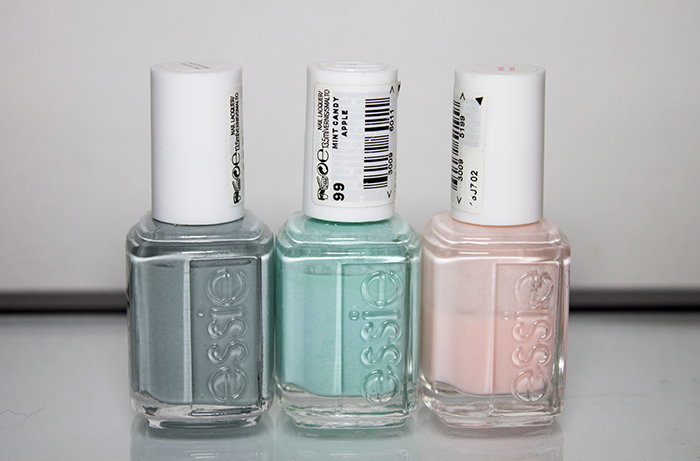 Essie Maximillian Strasse Her, Essie Mint Candy Apple and Essie Muchi, Muchi.