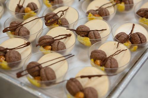 "Chef Ghaya Oliveira's Coup ""Mini Mac"" Chocolate biscuit macaron, praline creme bavaroise, Meyer lemon marmalade"