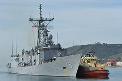USS Vandegrift (FFG 48) arrives at Naval Air Station North Island April 9 following the rescue of a family with a sick infant on a disabled sailboat approximately 1,300 miles south of San Diego. (U.S. Navy file photo/MC3 Corey T. Jones)
