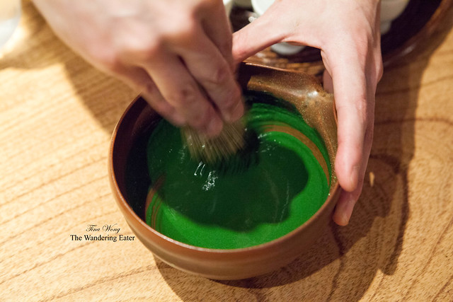 How koicha (thick matcha) looks while whisking