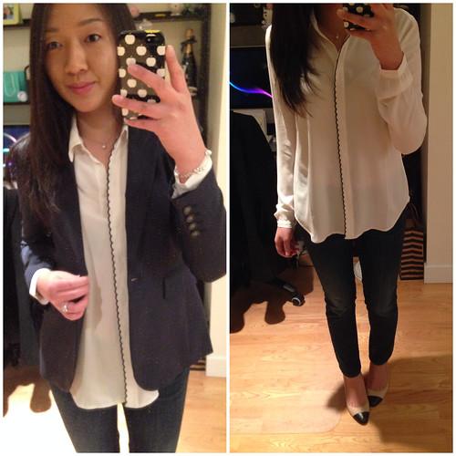 LOFT Scallop trim button up blouse
