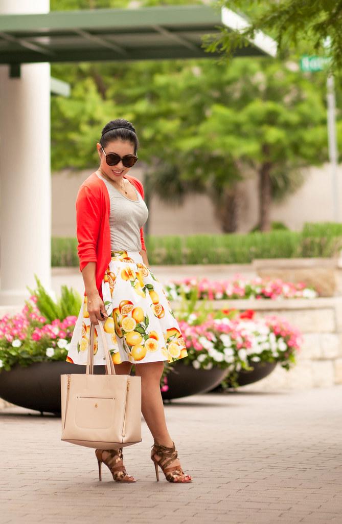 cute & little blog | petite fashion | banana republic lemon print skirt, coral cardigan | spring summer outfit