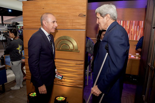Secretary Kerry Chats With 'Today' Show Host Lauer Before Iran Deal Interview in New York