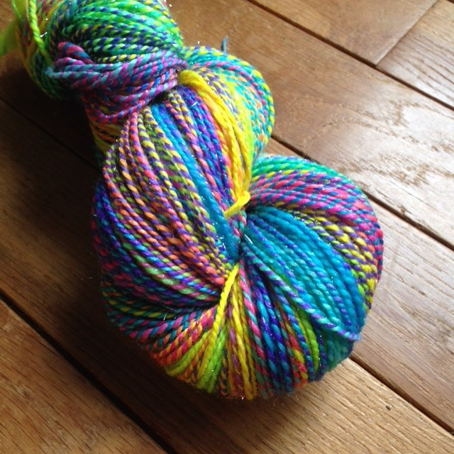 Check out that bling! 340ish yards of a 2-ply in @kirbywirbyyarns Merino/nylon/stellina. #lovesession #tdfteamcaffeinated2015 #TDFTeamCloudlover15 #tourdefleece2015