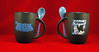 THE TICK SAN DIEGO COMIC-CON 2015 BLACK AND BLUE CERAMIC COFFEE CUP WITH STIRRING SPOOOON! by vsndesigns