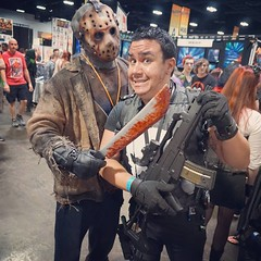 Uh oh got stopped my #slasher #jasonvoorhees at #tampabaycomiccon2015 I don't think I had enough #bullets #Punisher #cosplay #nerds #geekout #comics #comiccon