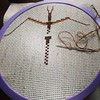 Stitching a walking stick on a rainy Saturday.