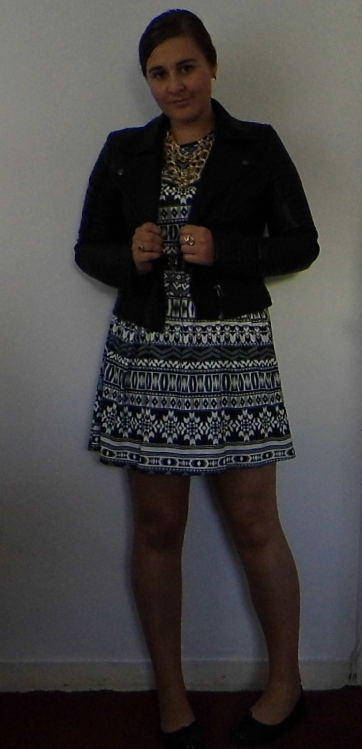 Clothing at Tesco Aztec dress & Topshop Biker Jacket & Betty London Shoes