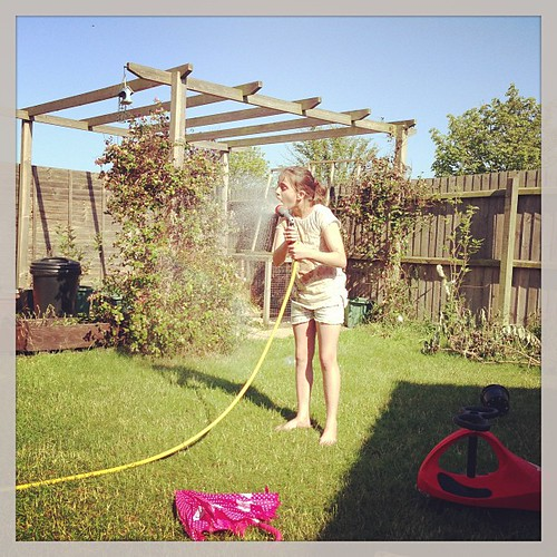 You think you train them.... And then you catch your 11 year old drinking from the hose.