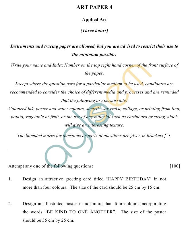 ICSE Class 10Art Sample Papers IV