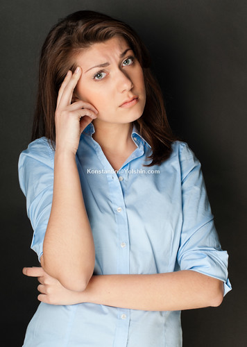 beautiful and sad young woman