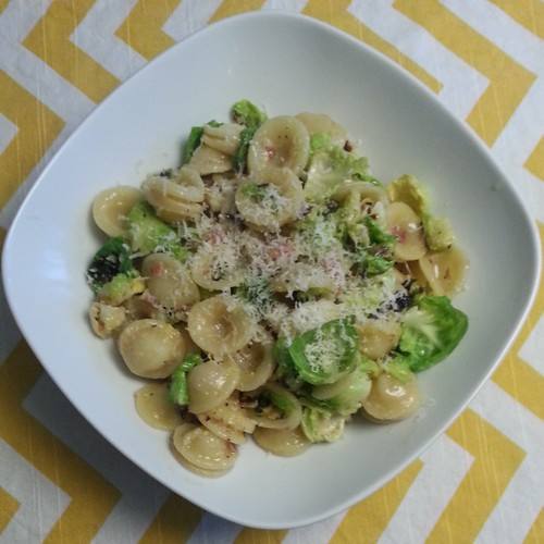 Orechiette Carbonara with Charred Brussels Sprouts Sunny