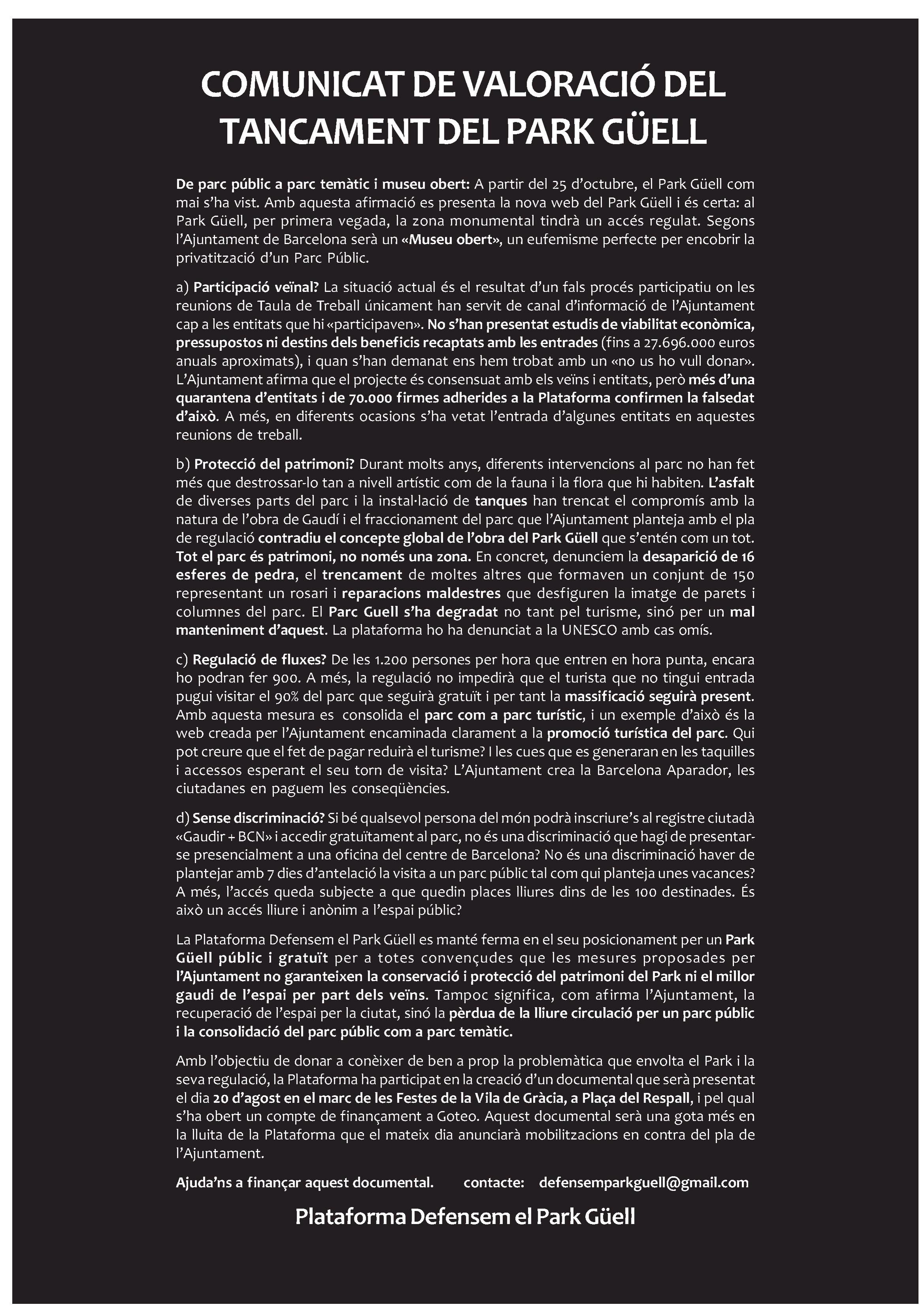 Comunicat de valoració del tancament del Park Güell. Plataforma en defensa del Park Güell