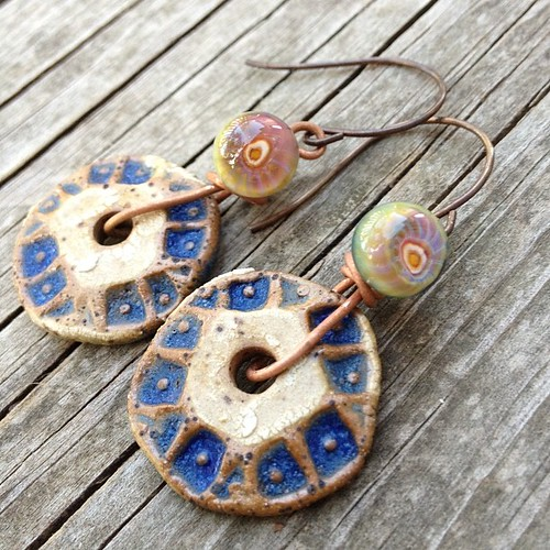 Earrings using my headpins and Diana P (Suburban Girl) ceramic discs.