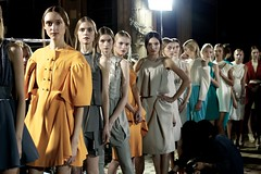 Models ready to go onto the runway. Hexa By Kuho Spring Summer 2013 Fashion Show.