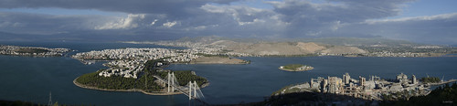 panorama industry clouds factory bridges greece evia chalkida chalkis