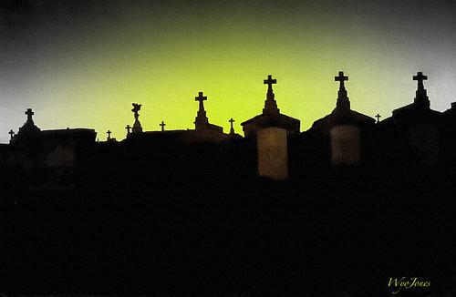 sunset cemeteries green halloween silhouette night lowlight louisiana cross greenwoodcemetery neworleans eerie scan creepy fujifilm np filters crypt tombs happyhalloween fujicolor citiesofthedead reprocessing creepedout cokinfilters wyojones