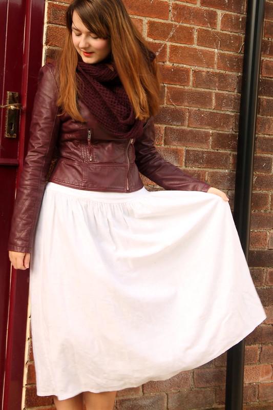 Snood, leather jacket, vintage midi dress, heels