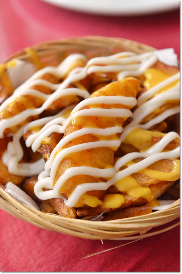 Wedges with Cheese Sauce