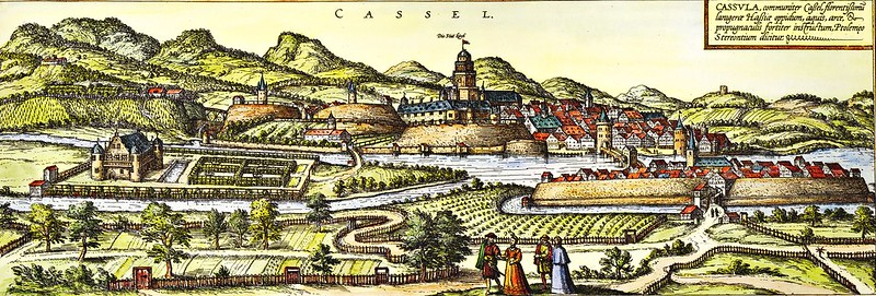 Christoph Bernhard - Historical view of the German town of Kassel by Georg Braun and Franz Hogenberg (c.1572-1618)