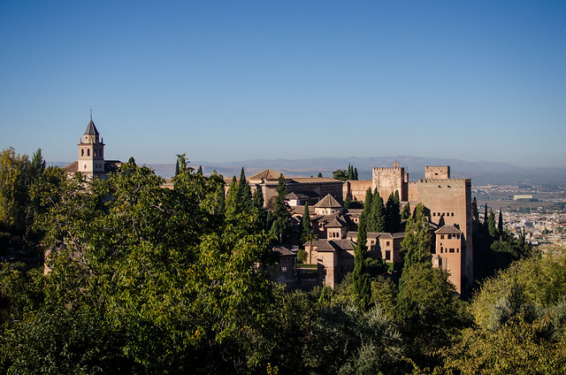 A view of the Nasrid Palace and Alcazaba Fortress from the Alhambra's Generalife Gardens.