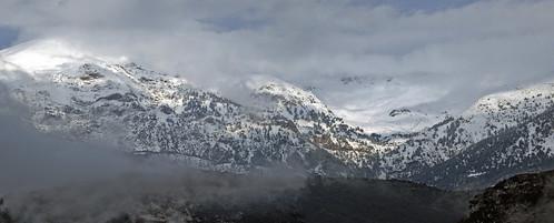 winter panorama snow mountains clouds greece patras achaia panachaikon