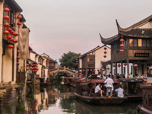 china sunset red water boats canal suzhou lantern channels