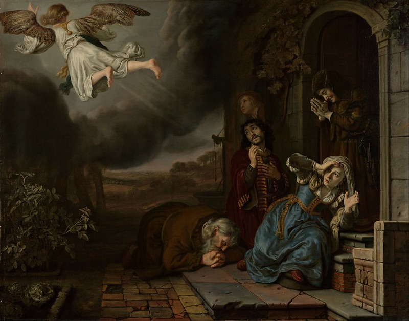 Jan Victors - The Angel Taking Leave of Tobit and His Family (c.1649)