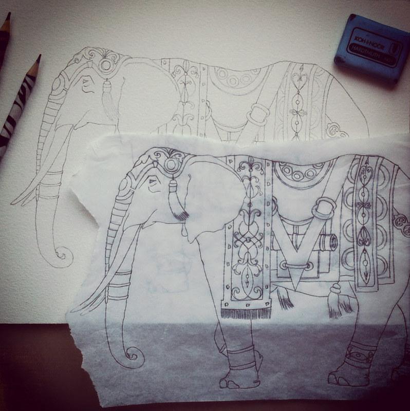 Watercolor elephant in progress