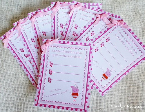 Invitaciones Kit imprimible Peppa Pig Bailarina Merbo Events