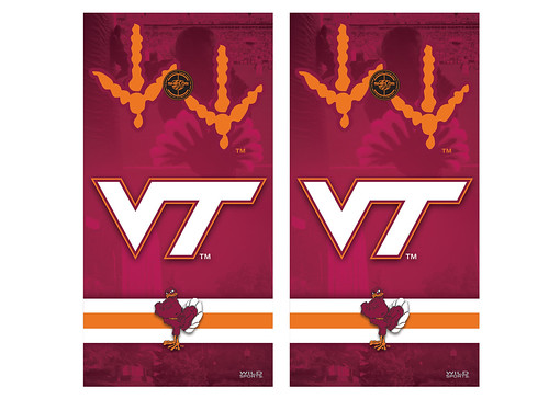 Virginia Tech Cornhole Game Decal Set