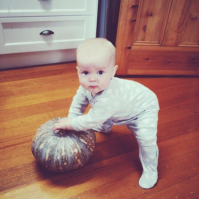 #babyjagoe doing the squats and playing with a pumpkin.