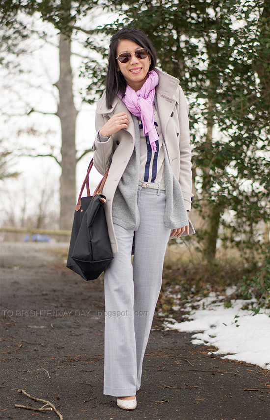 wool trench coat, lilac scarf, navy bow blouse, gray trousers