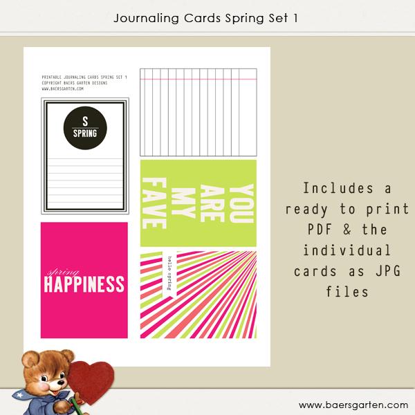 Journaling Cards Spring 1