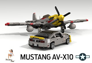 USAF Mustang P51-D and 2010 Ford Mustang 'AV-X10 Special Edition' - Detroit Doll