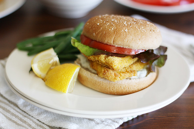 cornmeal-crusted catfish sandwiches with lemon-caper sauce