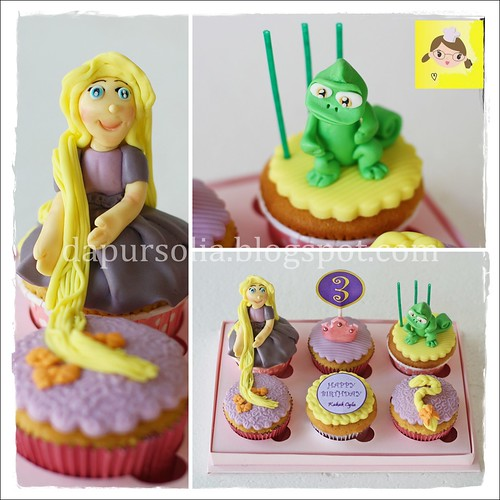 Cupcake Rapunzel untuk Cyla 3rd Birthday
