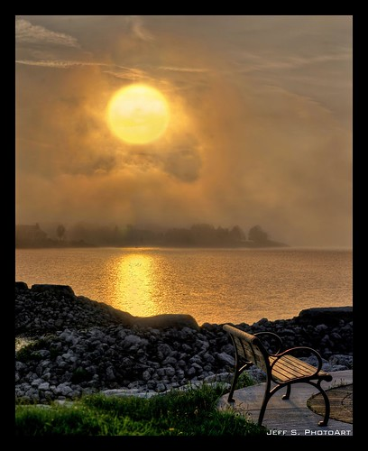 Misty Mystic Sunset at the Bay ~ stitched image 4 shots