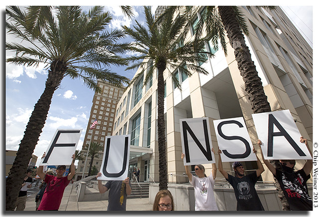 FU NSA in front of Tampa Federal Courthouse