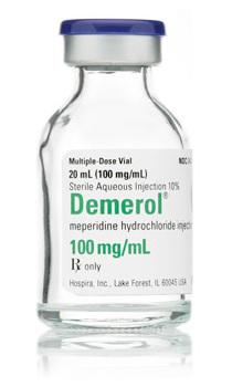 Demerol meperidine iv 100mg 20ml vial Hospira