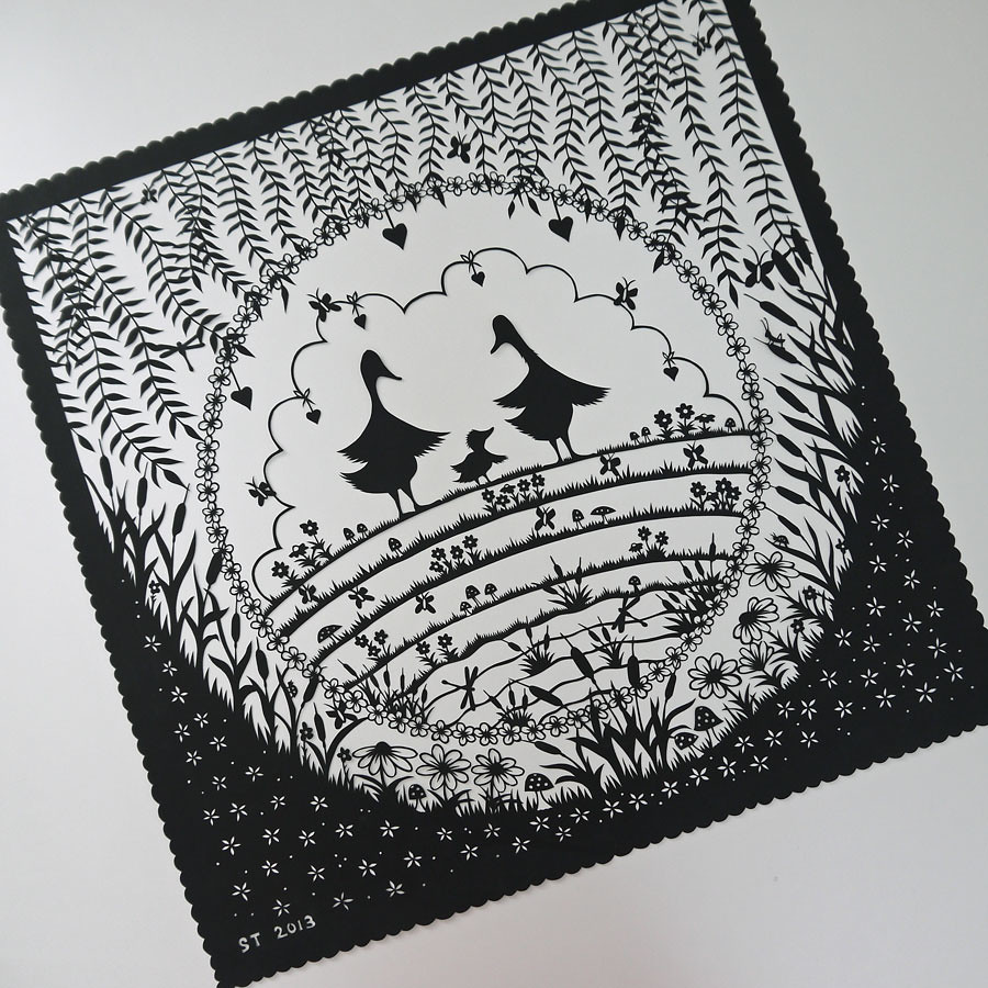 Geese papercut commission