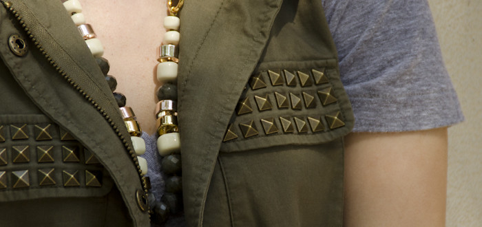august outfit, vests with shorts, outfit blog, navy and green, forever21 studded vest, summer layers