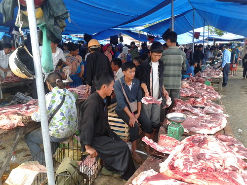 Butchers of Hmong black pig meat in Northwest Vietnam