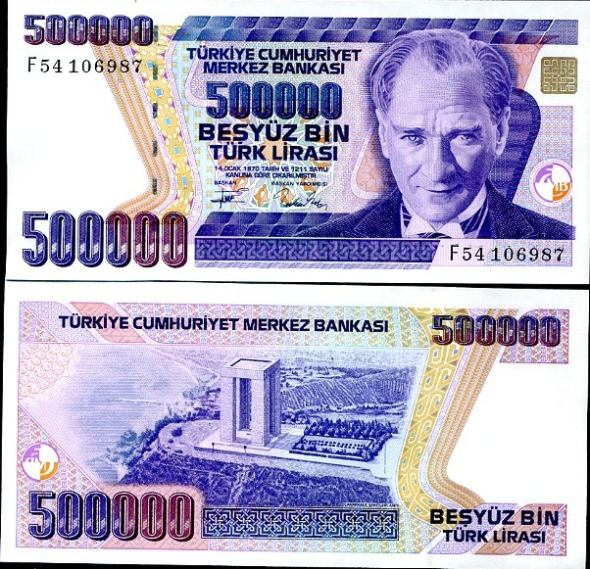 500 000 Lirasi Turecko 1993, Pick 208