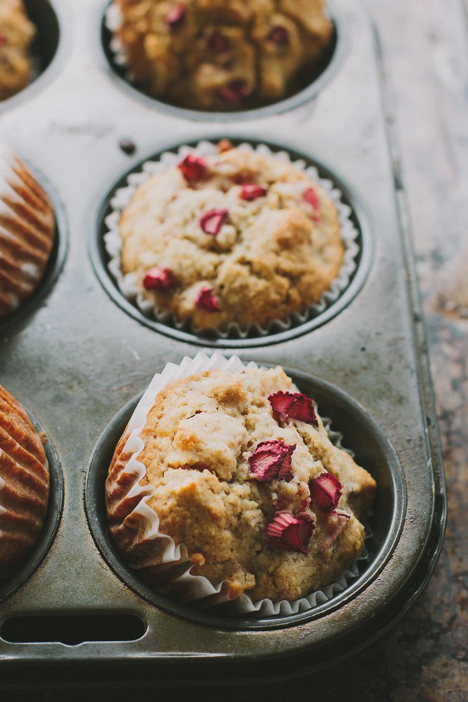 rhubarb, apple + ginger muffins {gluten + dairy-free}
