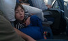 Mid-flight snooze.