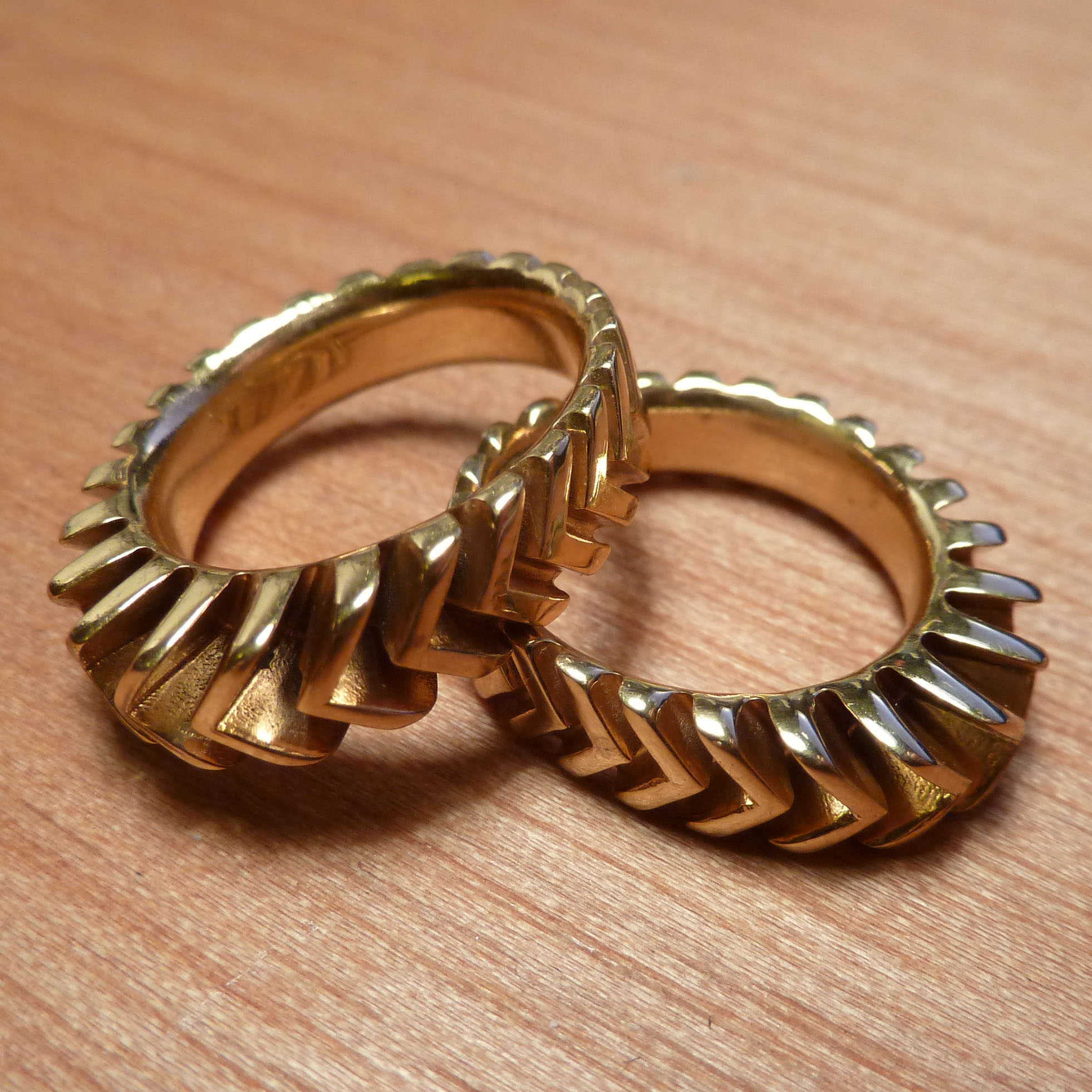 gold plated brass 3d printed sun sprocket grip rings