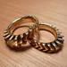 Gold plated brass 3d printed sun sprocket grip rings by Euphy