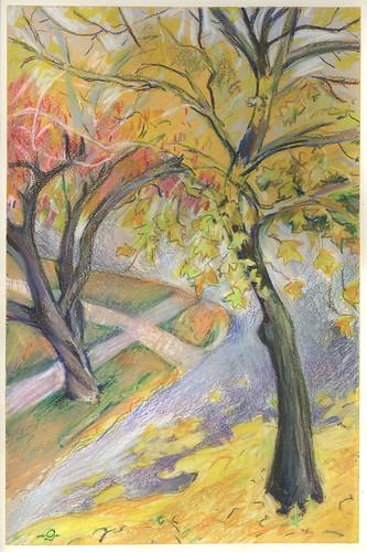 autumn urbanlandscape cedarfallsiowa neocoloriiwatersolublewaxpastels marciamilnerbrage liquitexpaintmarker gouacheprimedcoldpresswatercolorpaper